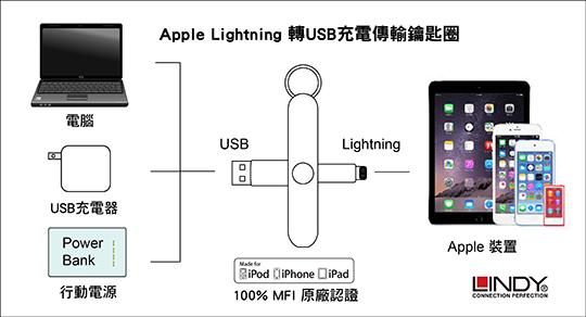 LINDY 林帝 Apple Lightning 轉USB充電傳輸鑰匙圈 時尚銀 (31396) 02