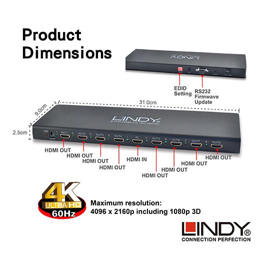 LINDY 林帝 HDMI2.0 UHD 18G 4K@60Hz 一進八出 影像分配器 (38242) 01