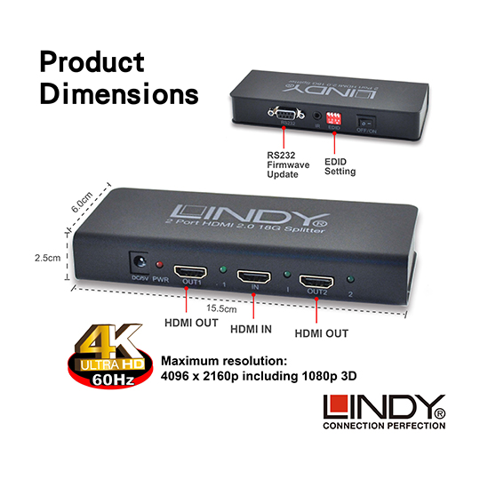 LINDY 林帝 HDMI2.0 UHD 18G 4K@60Hz 一進二出 影像分配器 (38240) 01