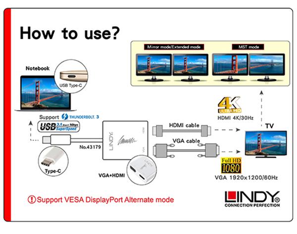 LINDY 林帝 主動式 USB3.1 Type-C to HDMI/VGA MST雙輸出影像轉接器 (43179) 02