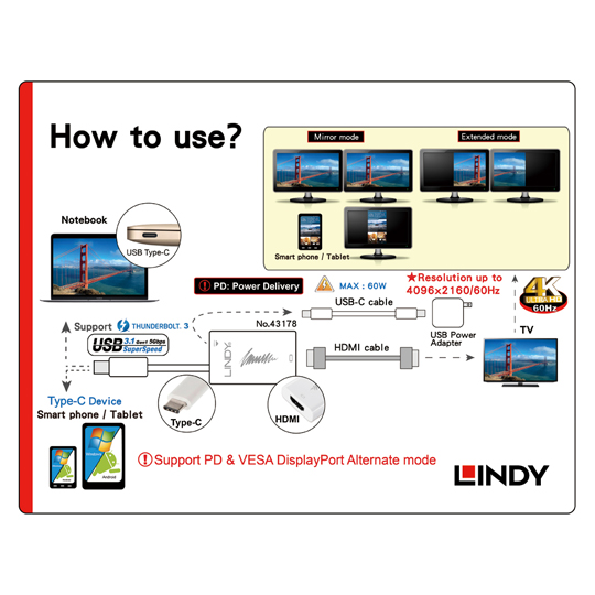 LINDY 林帝 主動式 USB3.1 Type-C to HDMI2.0 4K/60Hz轉接器帶PD功能(43178)