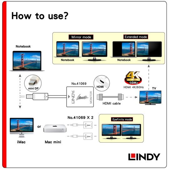LINDY 林帝 主動式 Mini-DisplayPort to HDMI 4K/60Hz轉接器(41069)
