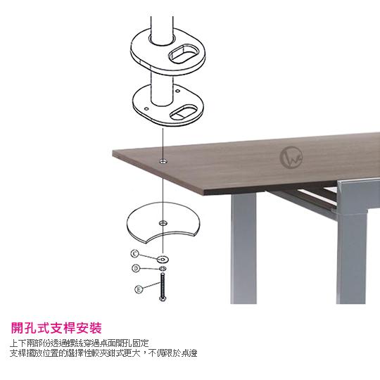 LINDY 林帝 台灣製 筆電/平板 長懸臂式支架+45cm開孔式支桿 組合 40962+40699 05