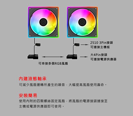 JetArt 捷藝 12公分 自控RGB 系統風扇 (DF12025R) 04