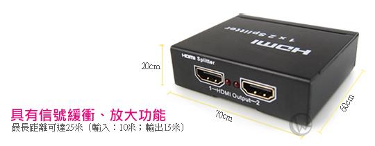SPARTA 迷你型HDMI一進二出分配器  02